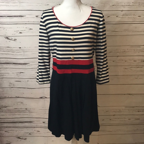 🌹Young Threads plus size sailor striped dress